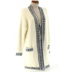 Manteau gilet cardigan laine ethnique grandes tailles 40/54 - JOYCE - Beige