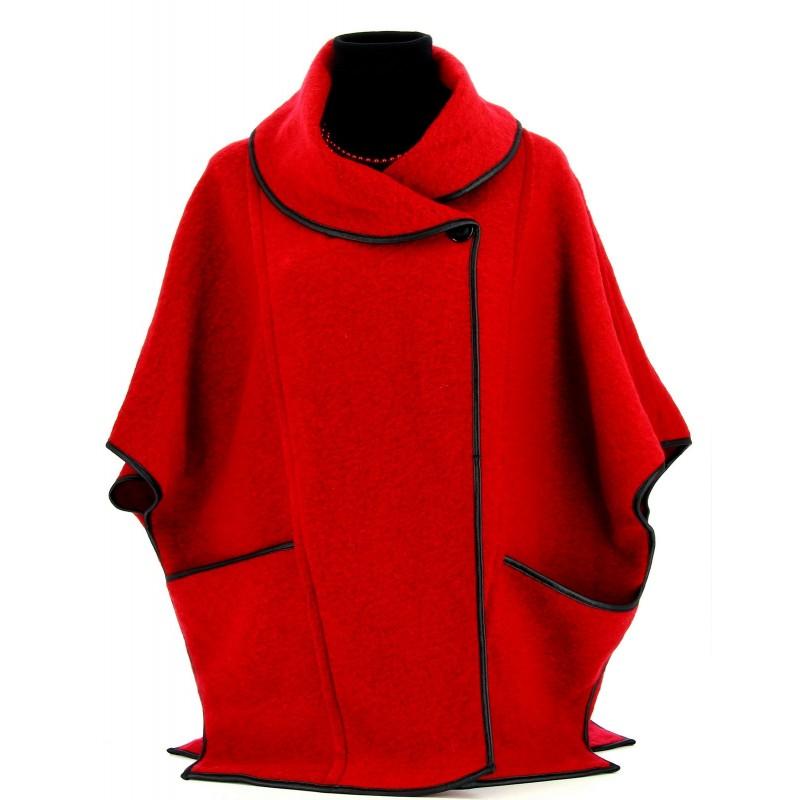 manteau de soir e cape en laine avec capuche et ourlets en. Black Bedroom Furniture Sets. Home Design Ideas