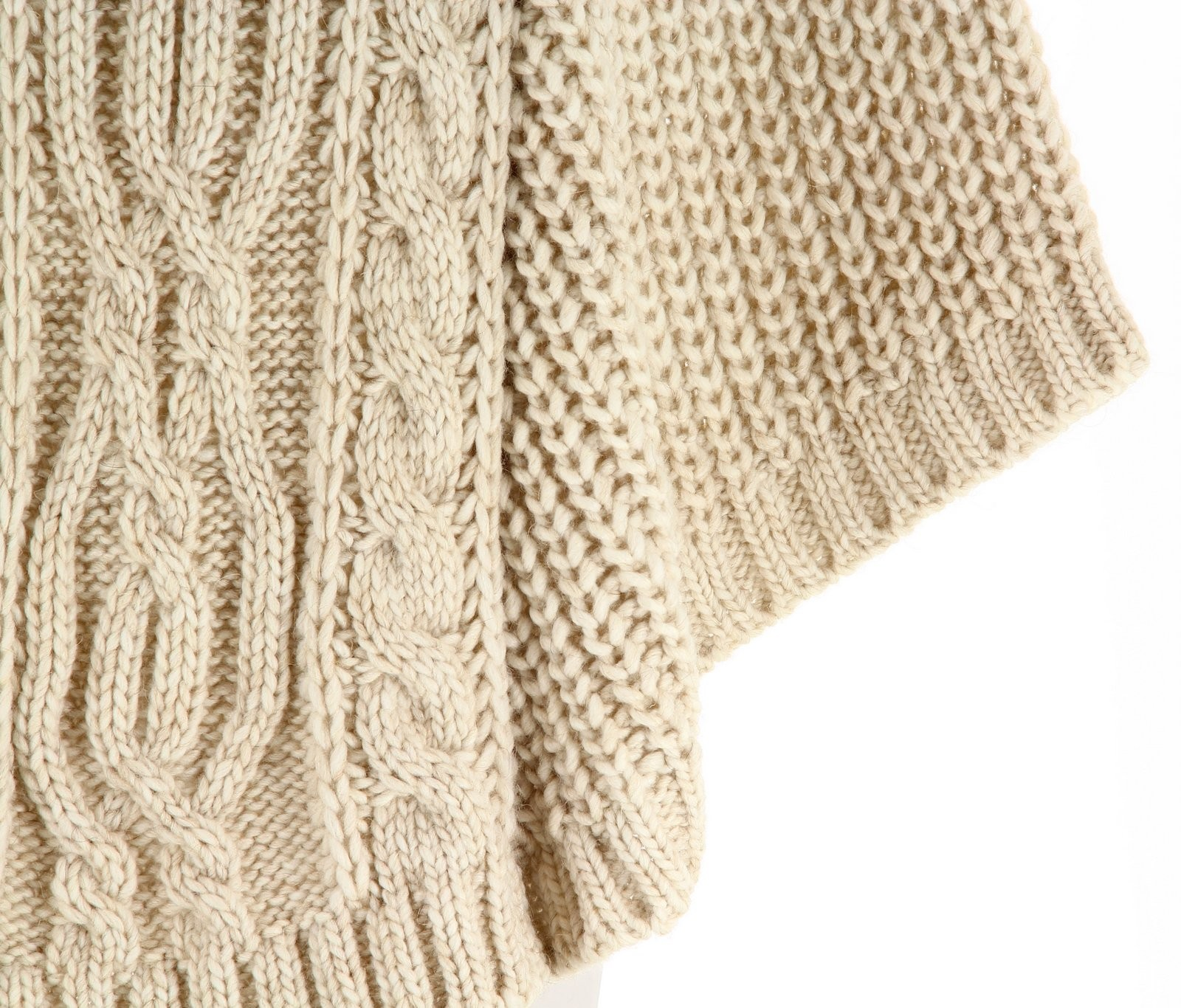 Poncho laine grosse maille laine alpaga beige elodie - Laine grosse maille ...