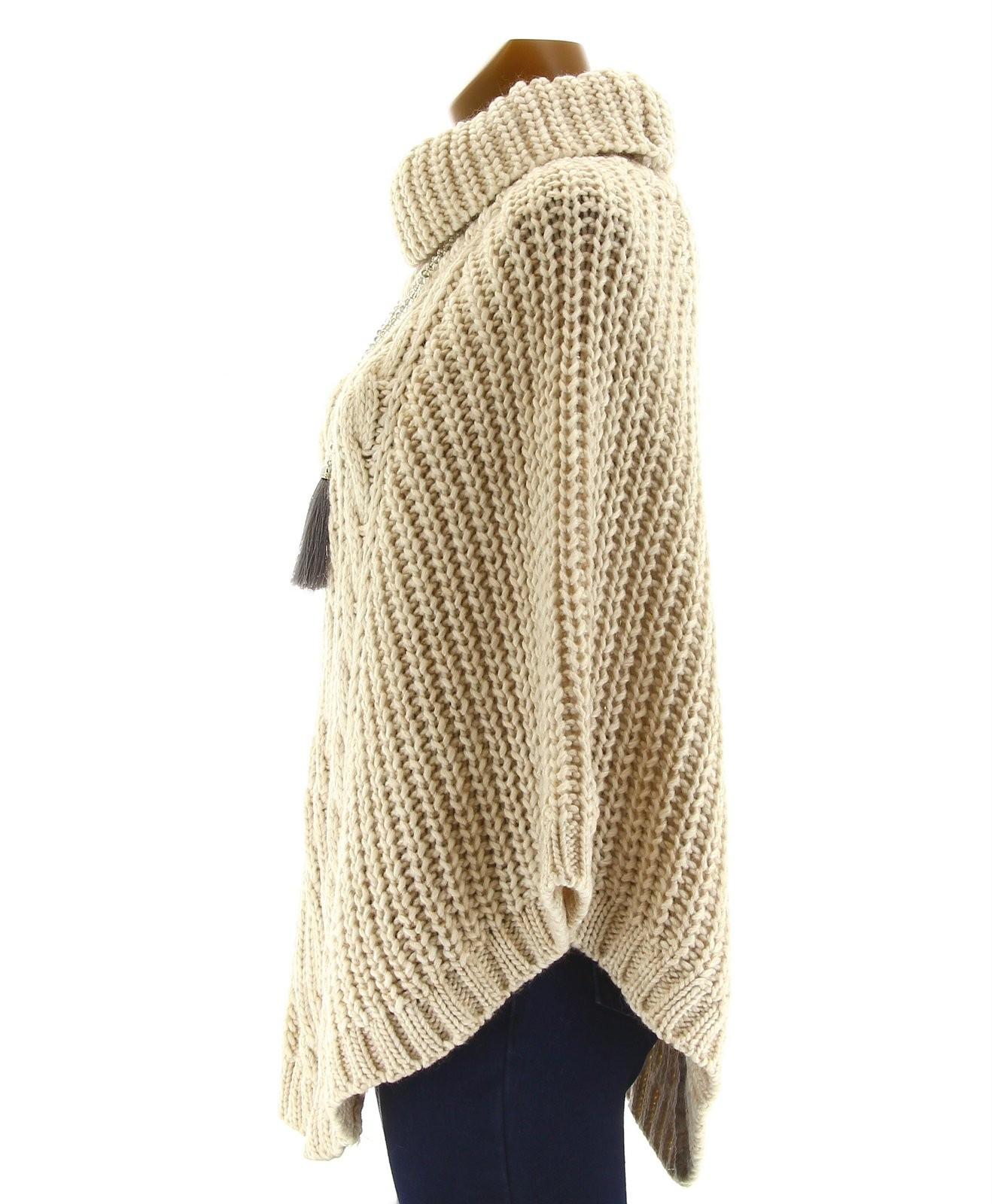 Poncho laine grosse maille laine mohair beige elodie - Laine grosse maille ...