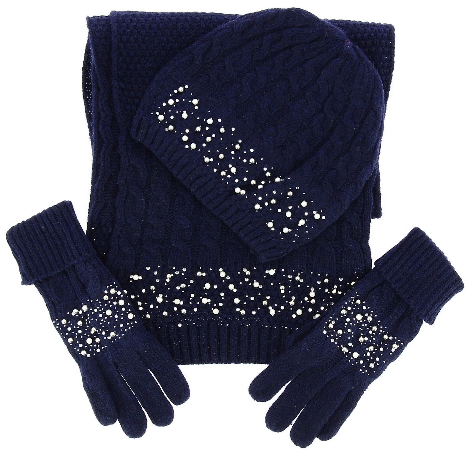 a80e6a74006 ensemble bonnet gants echarpe beatrice bleu marine laine perles