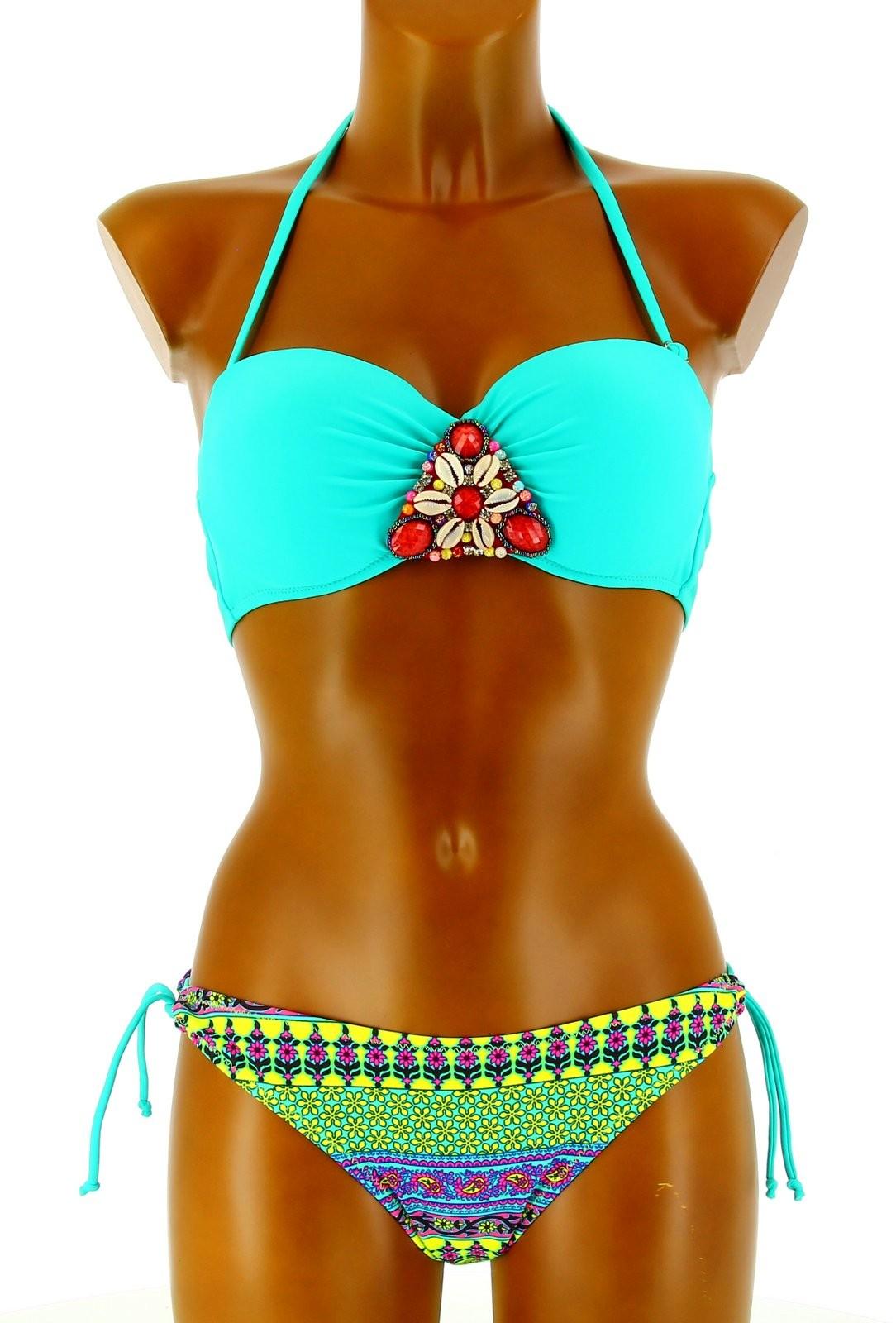 maillot de bain bikini pocahontas bandeau push up bijoux vert t. Black Bedroom Furniture Sets. Home Design Ideas
