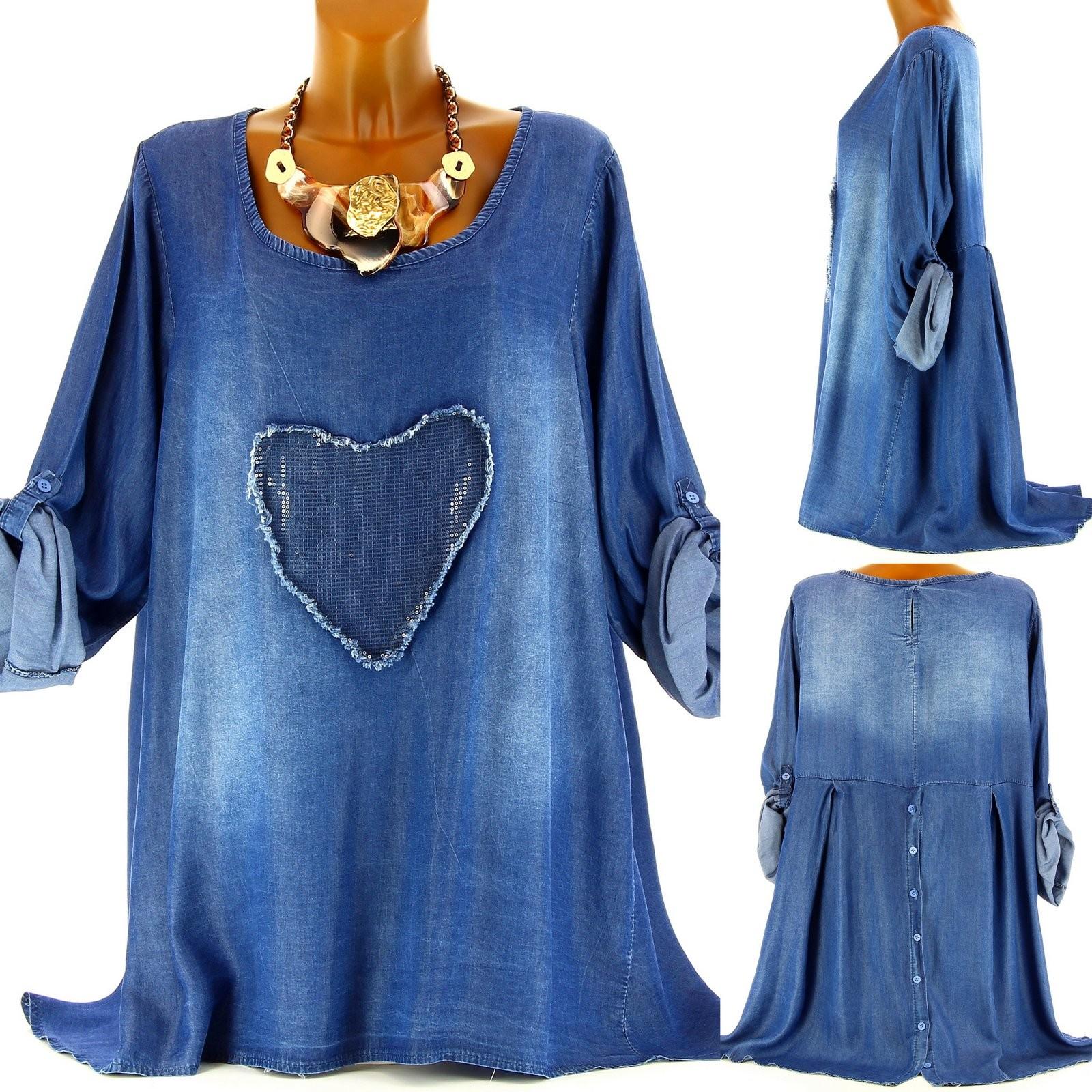 robe tunique jean ofelia brod e sequins grande taille asym triq. Black Bedroom Furniture Sets. Home Design Ideas