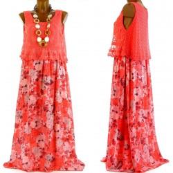Robe longue dentelle bohème - ROMANA - corail fleurs