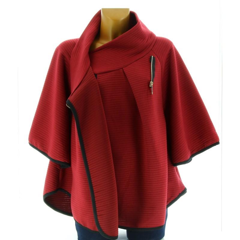 cape manteau femme grande taille bordeaux matilda rouge. Black Bedroom Furniture Sets. Home Design Ideas