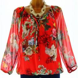blouse tunique CLARISSA  rouge