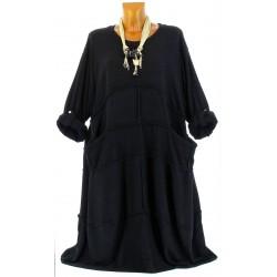 Robe longue laine bohème grande taille noir ROSALIE