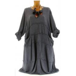 Robe longue laine bohème grande taille gris ROSALIE