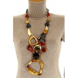 Gros collier sautoir bijoux couture fantaisie en résine  GERRY