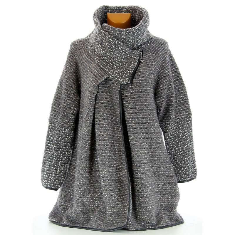 manteau cape laine bouillie hiver grande taille gris violetta gris. Black Bedroom Furniture Sets. Home Design Ideas