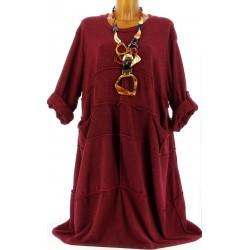 Robe longue laine bohème grande taille bordeaux  ROSALIE