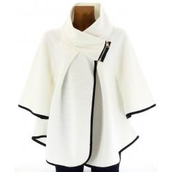 Cape manteau grand col grande taille blanc  MATHILDA