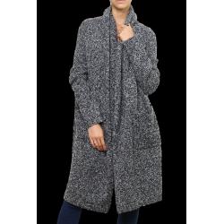 Manteau gilet long laine tricot ample gris chiné hiver ARGENTINA
