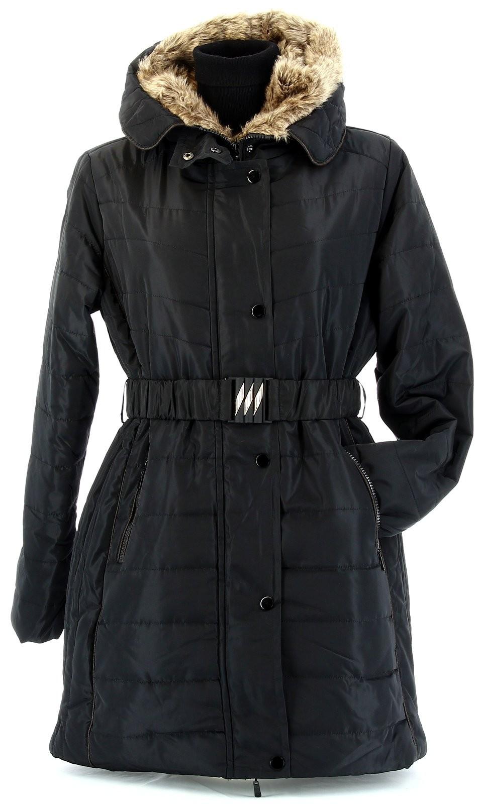 doudoune longue capuche fourrure grande taille hiver noir. Black Bedroom Furniture Sets. Home Design Ideas