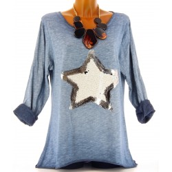 Tee shirt tunique longue hippie grande taille bleu jean CLAUDIA