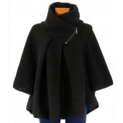 cape veste laine bouillie hiver JOSEPHA noir