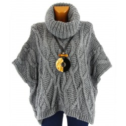 Pull poncho laine mohair grosse maille hiver gris SORENZA