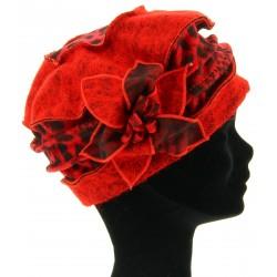 Bonnet femme laine bouillie hiver léopard rouge   ARNOLD