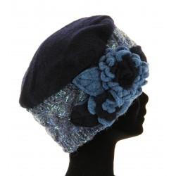 Bonnet femme laine bouillie hiver bleu marine MATHIEU