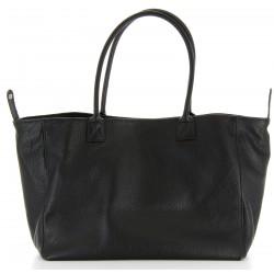 Grand sac à main cabas femme cuir luxe noir BOLOGNA