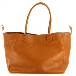 Grand sac à main cabas femme cuir luxe camel BOLOGNA