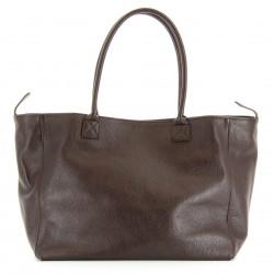 Grand sac à main cabas femme cuir luxe choco BOLOGNA