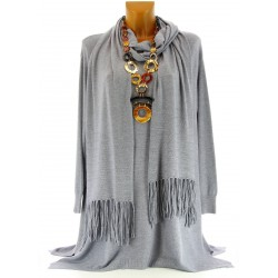 Pull tunique long + écharpe hiver femme gris RENATA