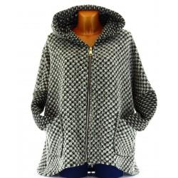 Veste cape capuche hiver laine bouillie kaki ALESSANDRO grande taille