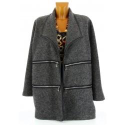 Veste longue hiver laine bouillie grande taille gris SERGIO