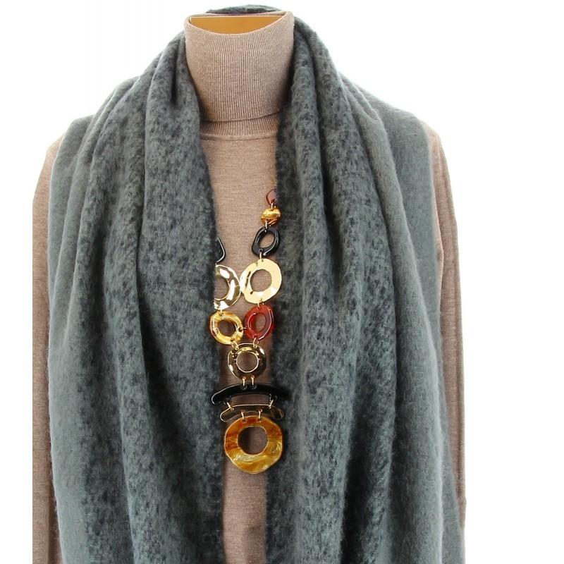 Grosse charpe tole laine hiver xxl mixte gris eymeric - Grosse echarpe plaid ...