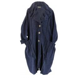 Manteau long hiver laine bouillie grande taille femme bleu jean KARLA