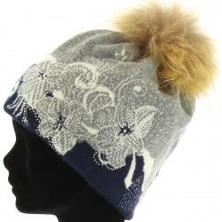 Bonnet swag femme laine pompon fourrure bleu TATIANA