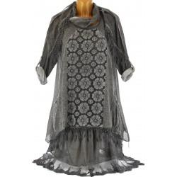 robe + tunique + foulard dentelle bohème gris délavé MELISSA