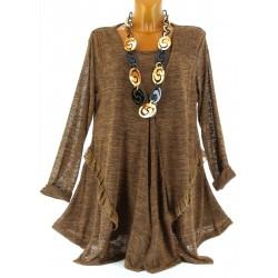 Robe Tunique Gilet Cardigan Dentelle grande taille choco MURIELLE