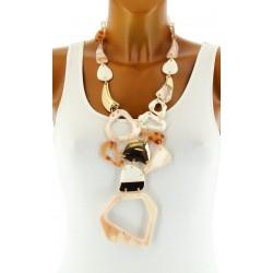 Gros collier sautoir bijoux couture fantaisie en résine MAGGY