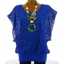 Tunique haut dentelle ample bohème bleu royal ELIANE