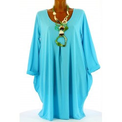 Robe Tunique boule Jersey Grande Taille bleu turquoise OLIVE