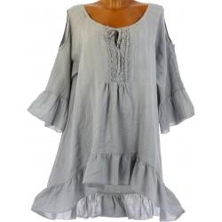 robe tunique asymétrique bohème dentelle été gris CHOUPETTE