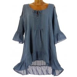 robe tunique asymétrique bohème dentelle été bleu jean CHOUPETTE