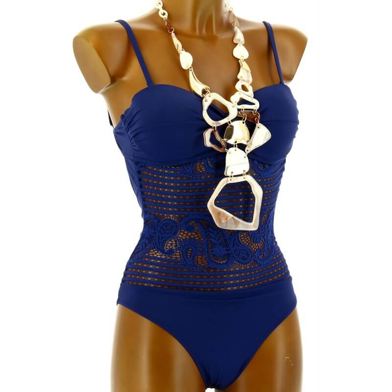 maillot de bain 1 pi ce dentelle push up bleu prissou. Black Bedroom Furniture Sets. Home Design Ideas
