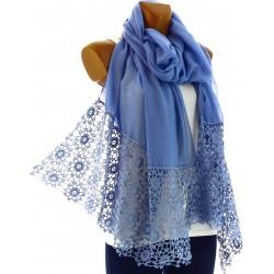 Foulard écharpe longue dentelle bohème bleu DANY