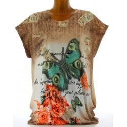Tee shirt tunique papillons grande taille vert HARMONIE