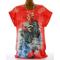 Tee shirt tunique papillons grande taille rouge HARMONIE