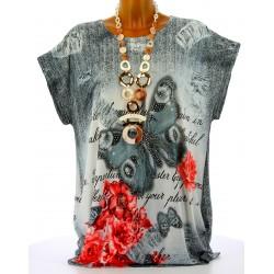 Tee shirt tunique papillons grande taille gris HARMONIE