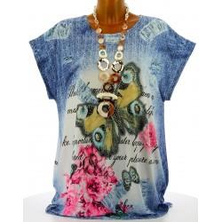 Tee shirt tunique papillons grande taille bleu HARMONIE