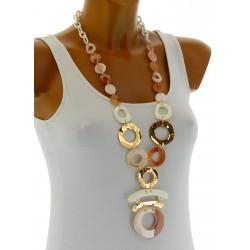 Gros collier sautoir bijoux couture fantaisie en résine ROBBY