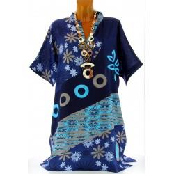 Robe tunique ethnique bohème été bleu CLARA grande taille