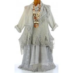 robe + tunique + foulard dentelle bohème coton gris ERMINA