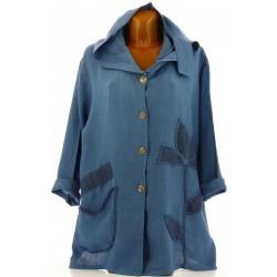 Veste femme capuche bohème lin grande taille bleu jean LOUISON