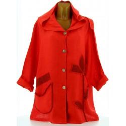 Veste femme capuche bohème lin grande taille rouge LOUISON